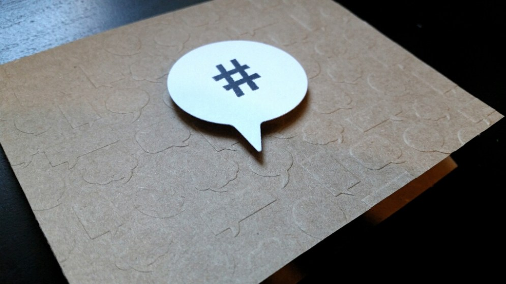 A Bit Of Glue & Paper - kraft card embossed with speech bubbles, white die cut speech bubble with stamped hashtag, clean and simple card; CASology 242 - Vancouver BC