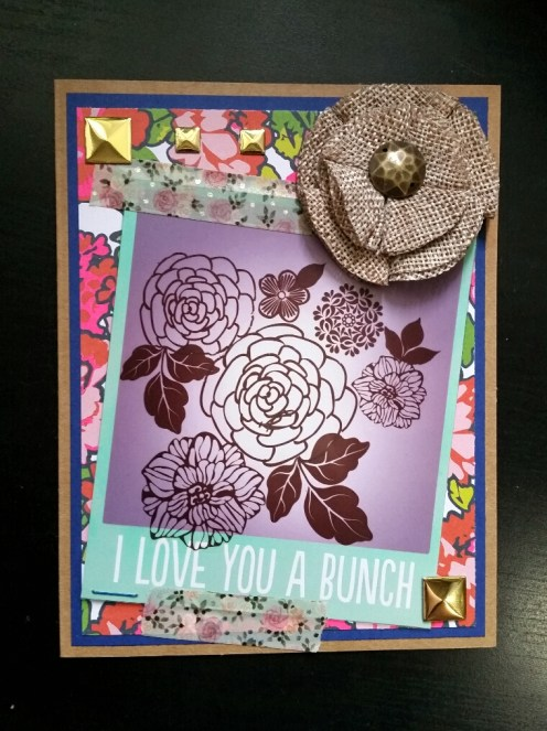 A Bit Of Glue & Paper - handmade Mother's Day card, burlap flower, acetate photo frame, floral patterned paper and flower rub ons