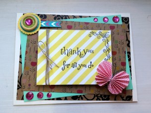 A Bit Of Glue & Paper - handmade Mother's Day card, paper butterfly, rhinestones