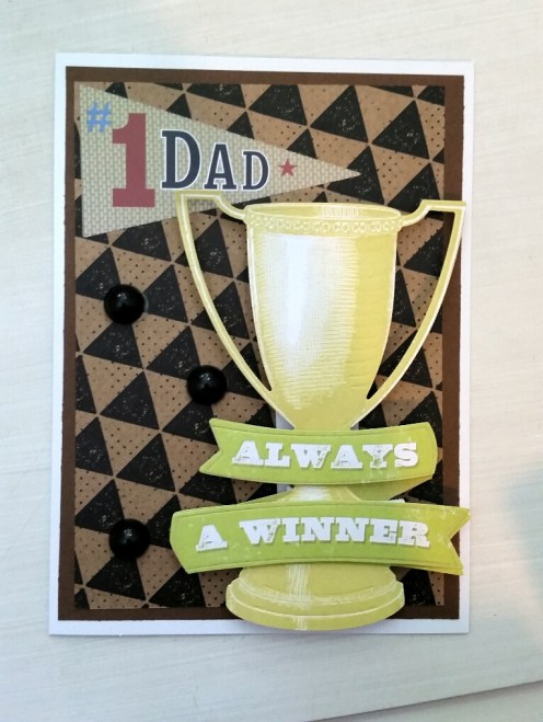 "A Bit Of Glue & Paper - handmade Father's Day card, die cut trophy ""always a winner"", #1 dad pennant - Vancouver BC"