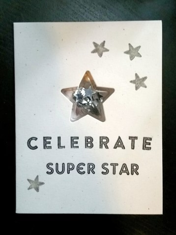 A Bit Of Glue & Paper - super star shaker card, silver stars - Vancouver BC