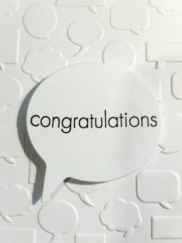 A Bit Of Glue & Paper - congratulations greeting card speech bubble embossed white, die cut speech bubble - Vancouver BC