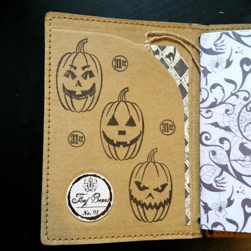 A Bit Of Glue & Paper - stamped Tree Leather passport fauxdori notebook cover TN, jackolanterns pumpkins, 31st, tag; inside cover - Vancouver BC