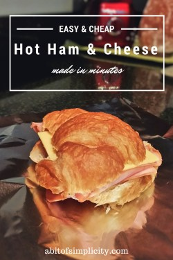 Make these cheap & easy Hot Ham & Cheese Croissants in minutes! Such an easy dinner for those busy nights! www.abitofsimplicity.com