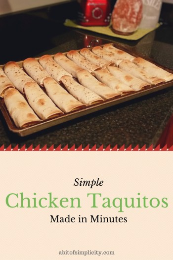 Looking for a meal the whole family with love? Try this SIMPLE Chicken Taquito Recipe. Dinner is ready in less than 30 minutes! www.abitofsimplicity.com