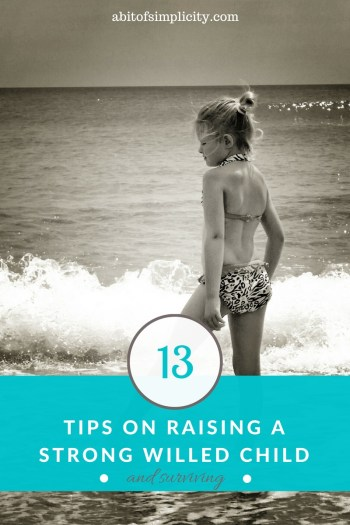 Parenting strong-willed children can be tough. They are born leaders, but are fearless in pushing boundaries. Here are 13 tips on parenting strong willed children, and surviving. www.abitofsimplicity.com