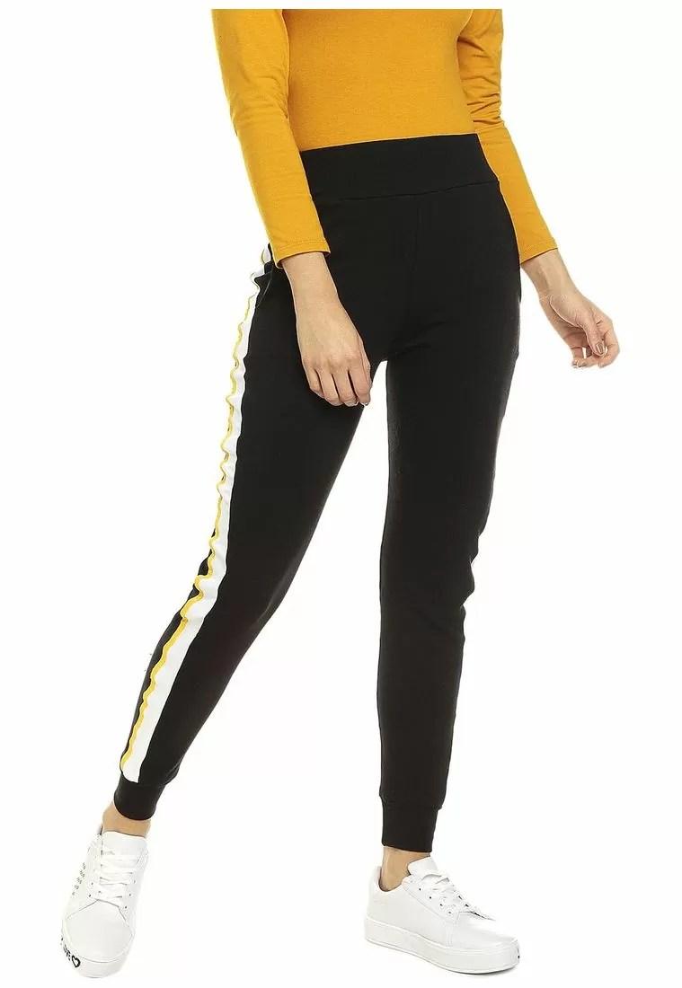Jogger Negro Linea Blanca /amarilla