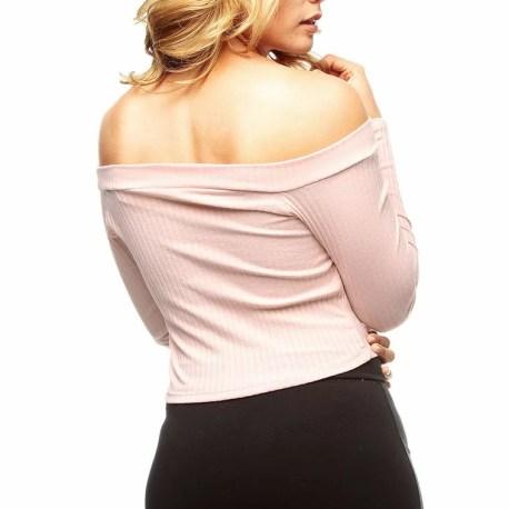 Blusa rosa Blusa manga larga  Blusa cuello bandeja