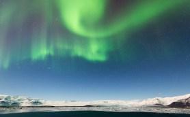 Blick nach Norden über den Gletschersee Jökulsárlón