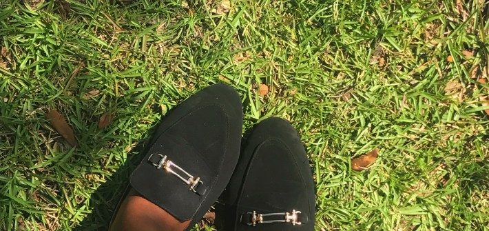 Black loafer flats