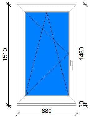 90x150 műanyag ablak