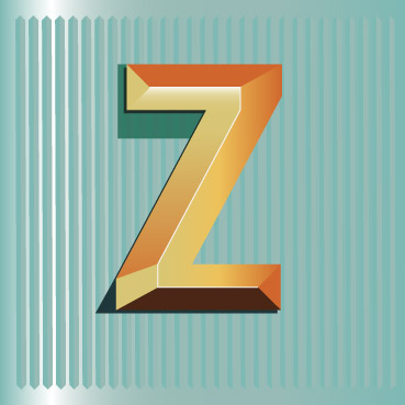 A letter Z in the style of a vintage sign