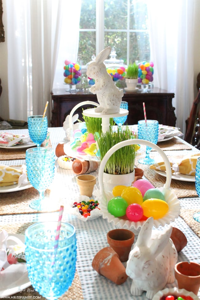 Fresh Easter Table Decorations With Seersucker Accents