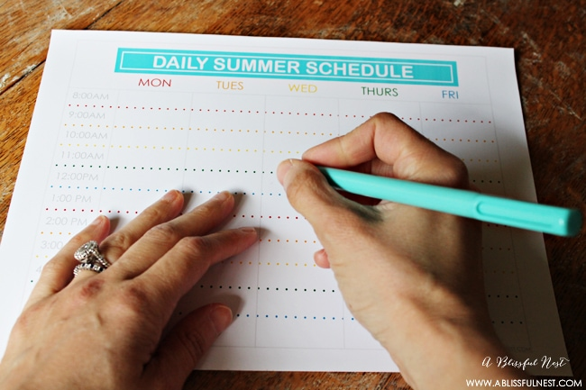 Free Printable Summer Schedule via A Blissful Nest