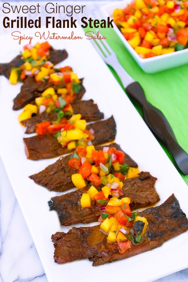 Sweet Ginger Grilled Flank Steak with Spicy Watermelon