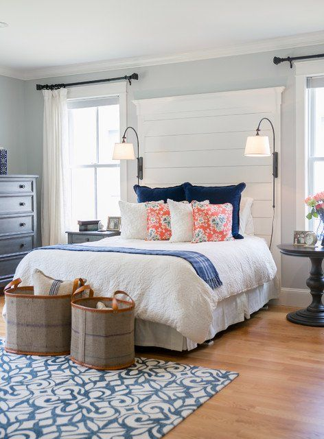 Use shiplap for behind your bed for a dramatic effect in your room. More ideas for decorating above the bed on A Blissful Nest. https://ablissfulnest.com/