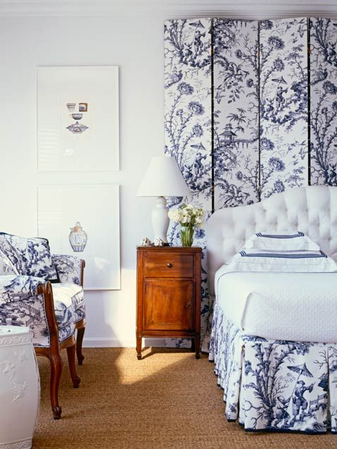 Use a beautiful screen behind a bed