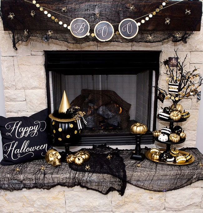 Black & Gold Halloween Mantel Ideas by Lillian Hope Designs
