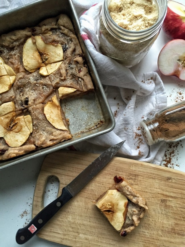 Delicious and simple to make gluten free spiced apple cranberry blondies.