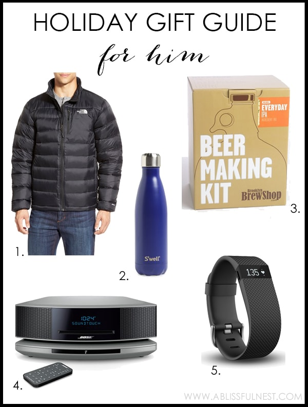 2015 Holiday Gift Guide ideas for shopping for him this year - www.ablissfulnest.com