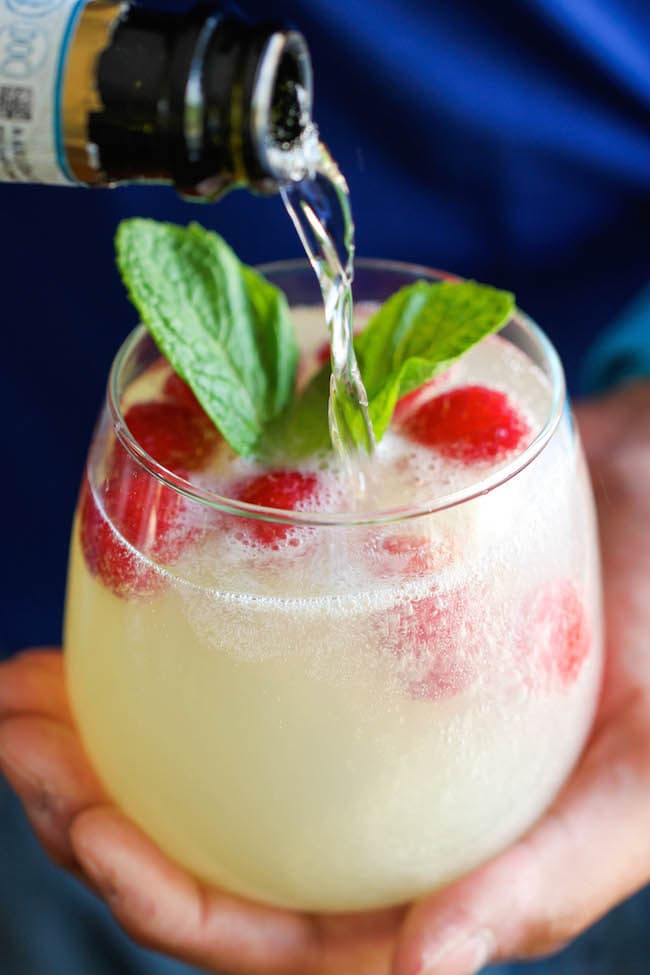 Raspberry Limoncello Prosecco Holiday Cocktail