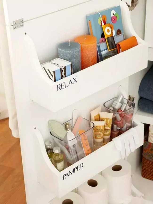 Bathroom Cabinet Storage Bin by Remodelholic