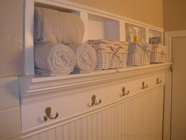 Beadboard with Towel Hooks and Shelf by Pregnant with Powertools