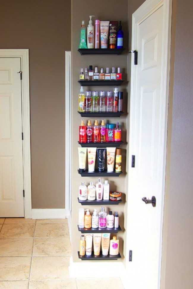 20 bathroom organization ideas via a blissful nest crown molding shelves for lotions and perfumes