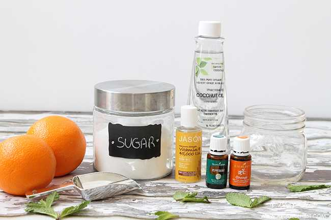 Such a simple orange mint sugar scrub recipe with very few ingredients. Perfect for the face and body.