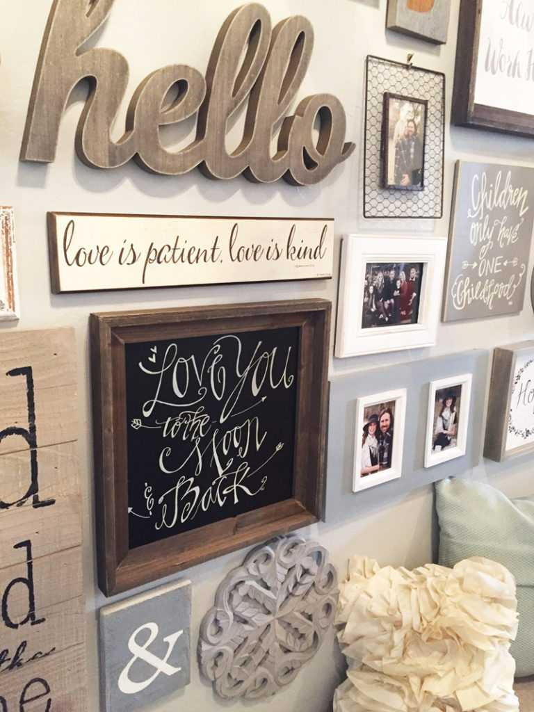 "This gallery wall is centered around one statement piece - a big ""hello"" to visitors of this home! Follow this helpful tutorial on how to create a gallery wall of your own!"