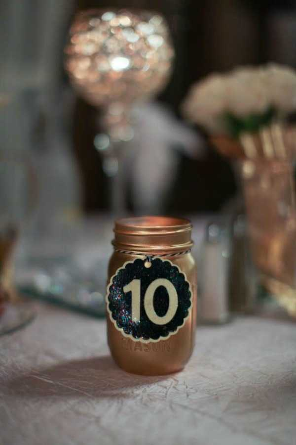 Mason Jars as Wedding Table Numbers, 20 Ways to Use Mason Jars