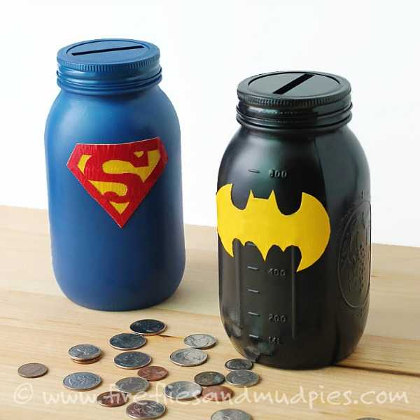 Superhero Banks, 20 Ways to Use Mason Jars
