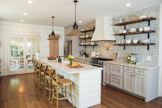 This family kitchen is exactly where I want to spend all my Sunday mornings with my family. HGTV Bungalow for Empty Nesters, 20 Best Fixer Upper Rooms