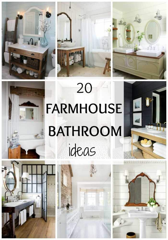 Love farmhouse style from Fixer Upper?! Take a look at these 20 gorgeous Farmhouse bathrooms and see how you can get some Fixer Upper style in your own home.  #ABlissfulNest #InteriorDesign #Decorator #Stylist #Blissful #HappyHome #designtips #Farmhouse #FarmhouseDecor #farmstyle #farmdecor