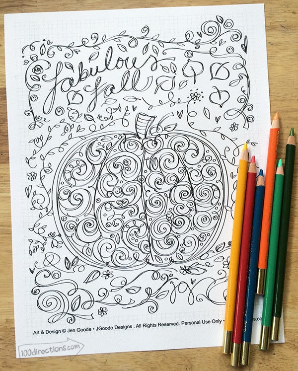 Fabulous Fall Coloring Page 100 Directions, 30 Free Fall Printables