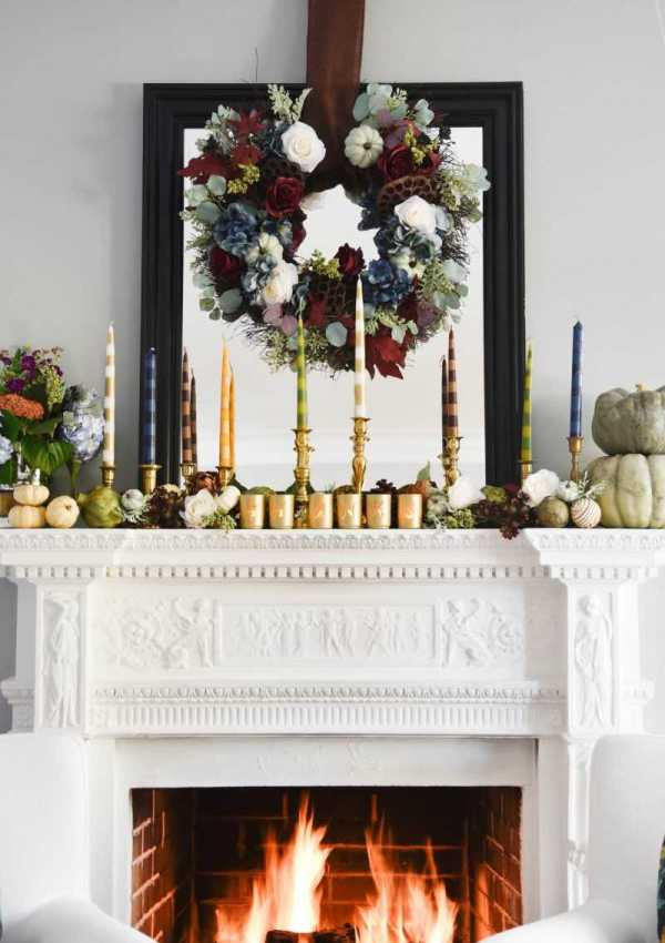 DIY Taper Candles and a Thanksgiving Mantel