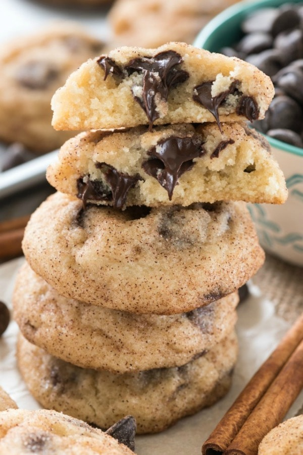 Chocolate Chip Snickerdoodles, 30 Delicious Christmas Cookie Recipes via A Blissful Nest