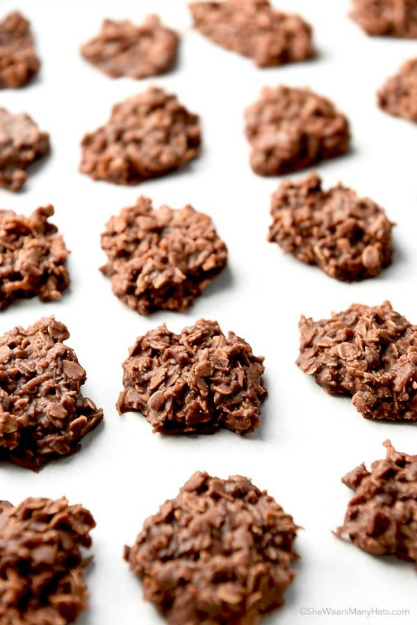 Chocolate Coconut Oatmeal No Bake Cookies, 30 Delicious Christmas Cookie Recipes via A Blissful Nest