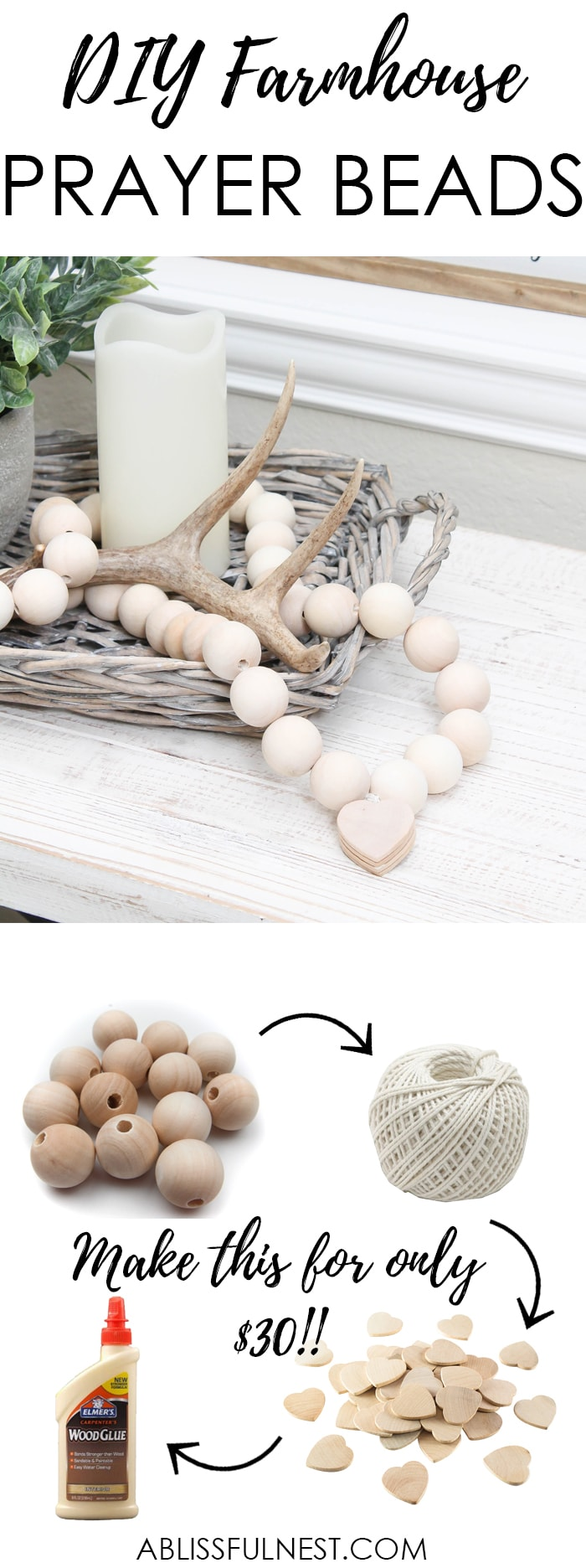 I can not believe how expensive prayer beads normally are! This DIY farmhouse wood prayer beads tutorial is so easy to make and only cost $30. What an amazing and easy DIY Farmhouse decor project! See more on https://ablissfulnest.com/ #farmhousedecor #farmhousestyle