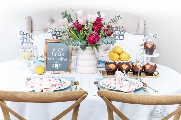 Love this gorgeous summer brunch tablescape idea for family and friends! See more on http:ablissfulnest.com/ #ad #dwellbee #brunch