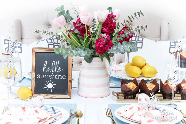 Love these gorgeous ideas for planning a brunch tablescape for family and friends! See more on http:ablissfulnest.com/ #ad #dwellbee #brunch