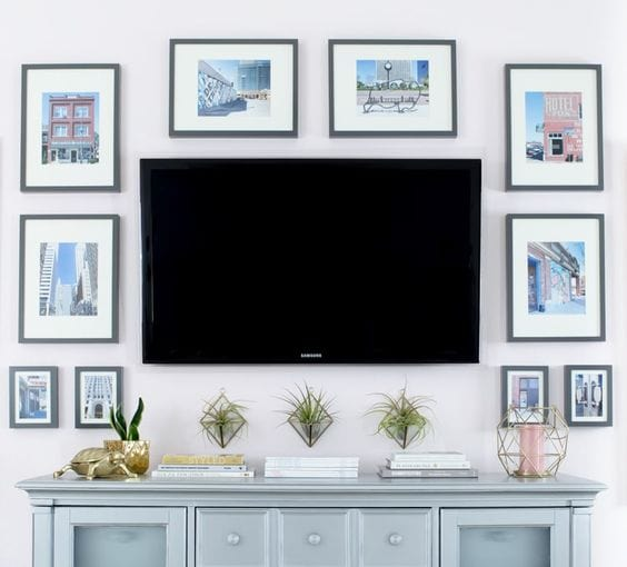 New tips and trends on how to decorate around a TV, visit https://ablissfulnest.com/ #interiors #designtips