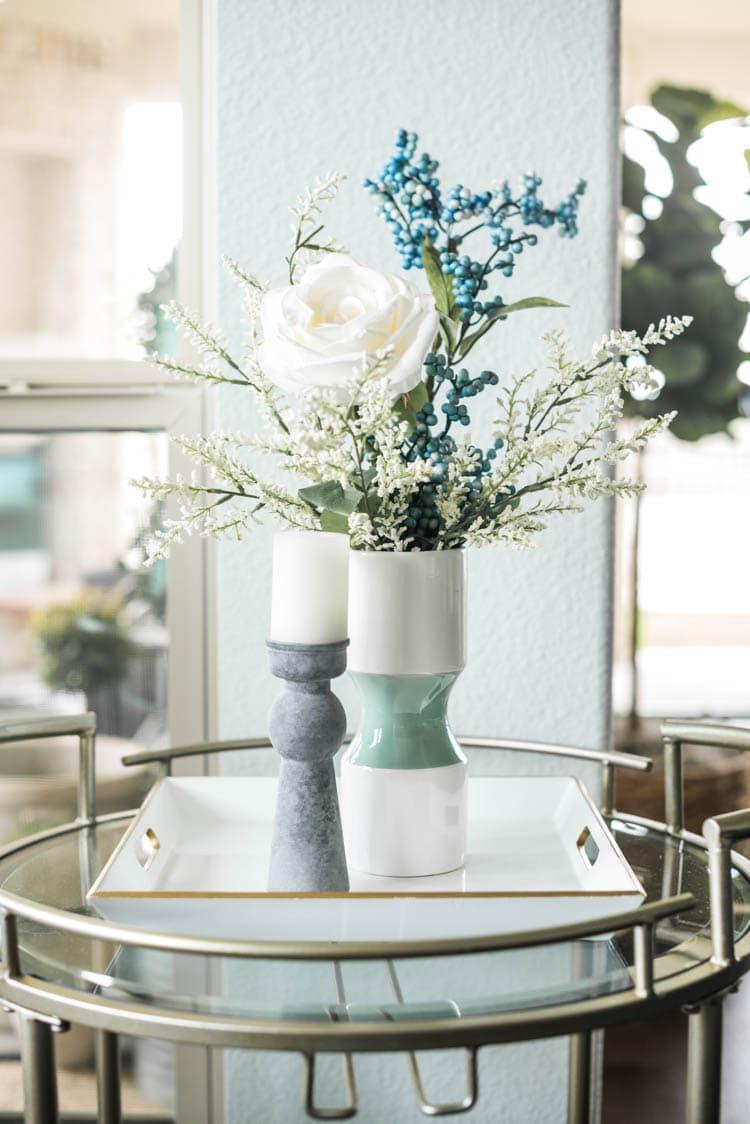 Love the beautiful faux florals at At Home! #ad #AthomeStores #springdecorating #springdecoratingideas #coastallivingroom