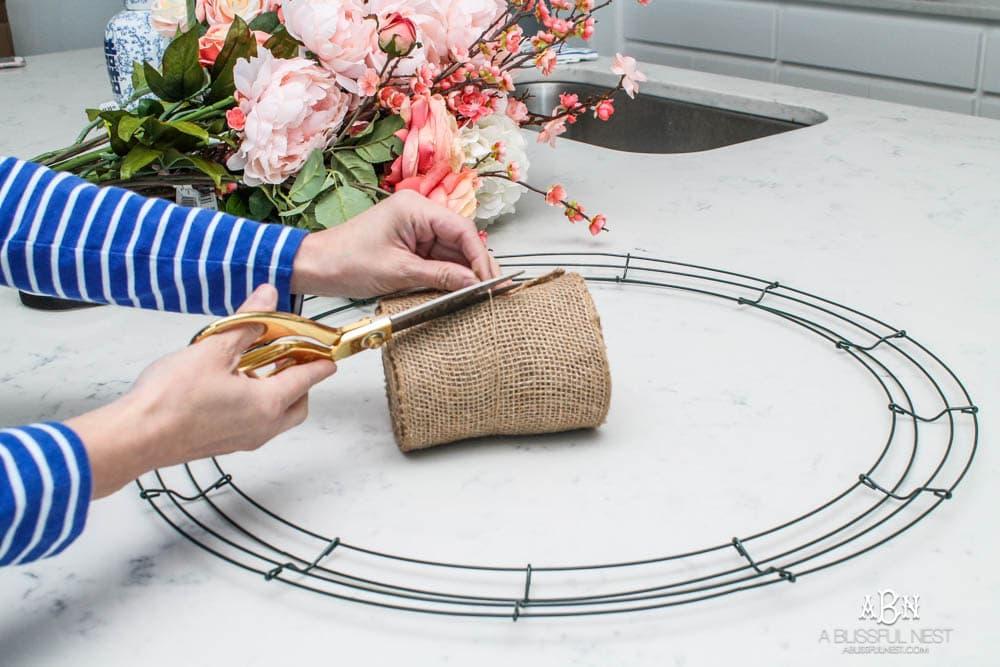 Easy steps to make this gorgeous peony flower wreath. #springwreath #diytutorial #flowerwreath #wreathtutorial