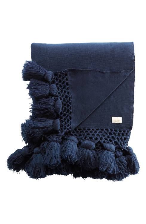 Such a gorgeous rich navy color and I love the pom pom detail!