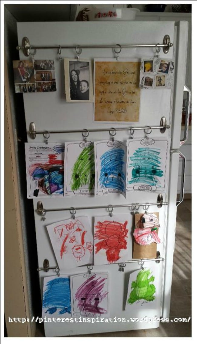 Hang rows of your kids' artwork with just two hooks and a rod. Pinterest Inspiration, 15 Things to do with Command Hooks in your Home