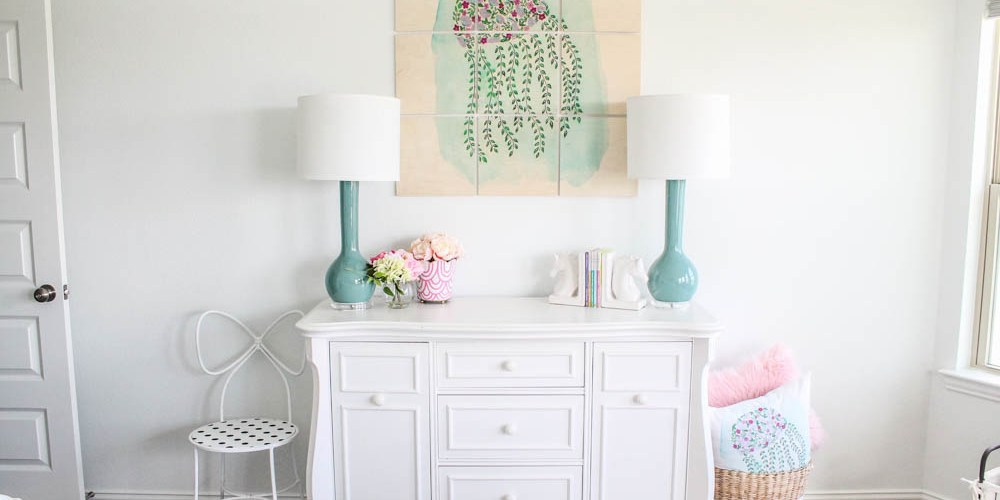 The sweetest little girls room updated with custom wall art! #ABlissfulNest #ad #society6