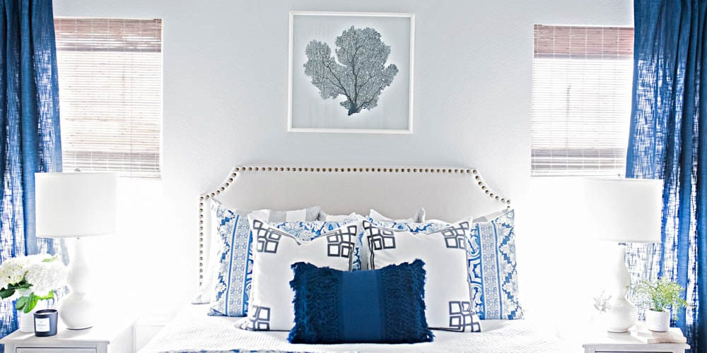 blue and white coastal guest bedroom