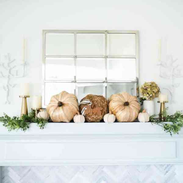 Beautiful neutral pops of fall decor and lots of texture in this fall living room home tour. #ABlissfulNest #falldecor #falldecorating #fallideas