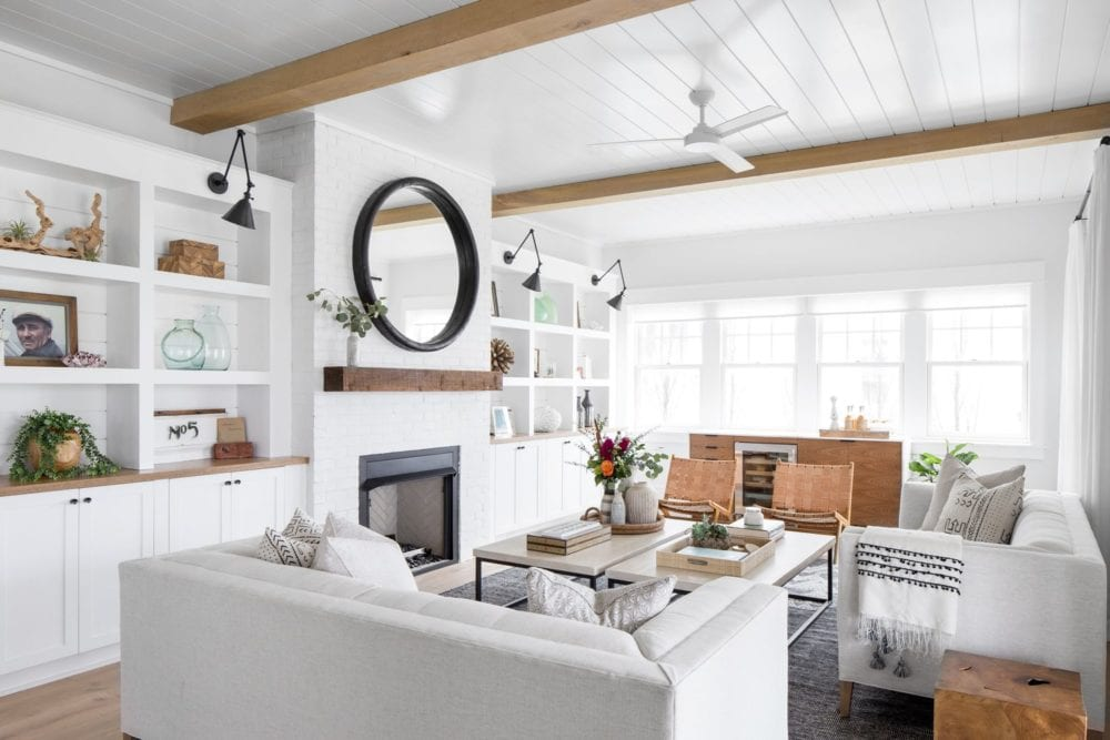 Neutral + coastal touches in this living room design.